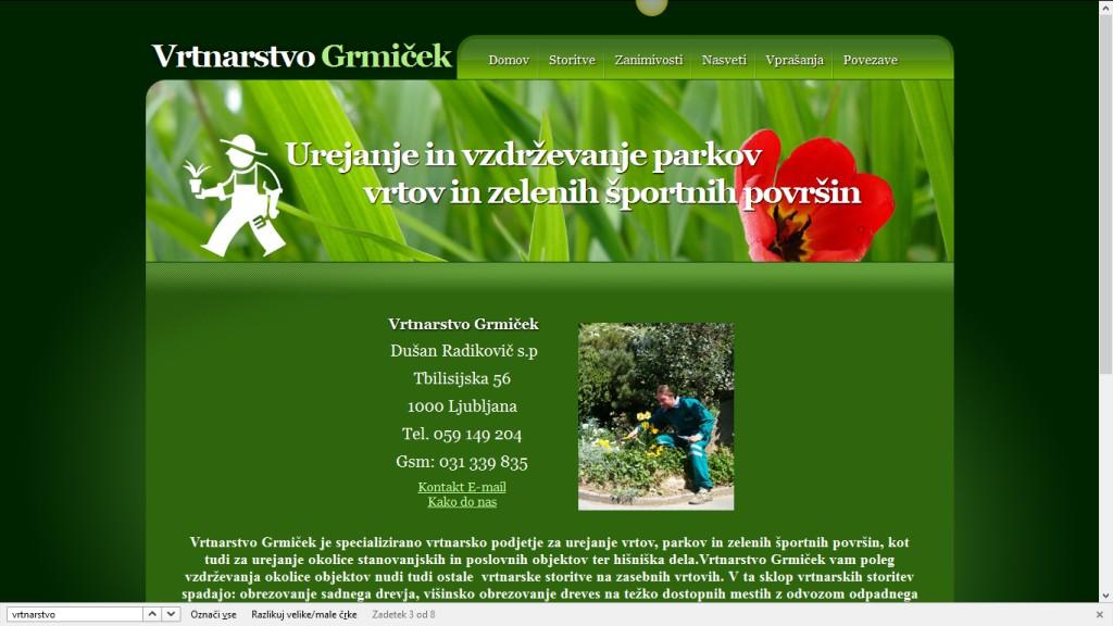 Optimizacija spletnih strani Vrtnarstvo Grmiček