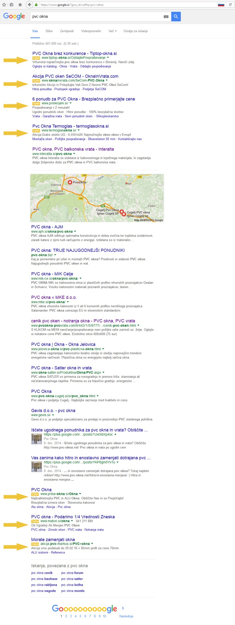 Google zadetki za pvc okna